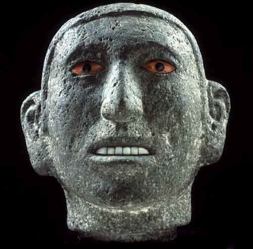 Head of a youth, c. 1500, Aztec. Stone, red shell and obsidian, 