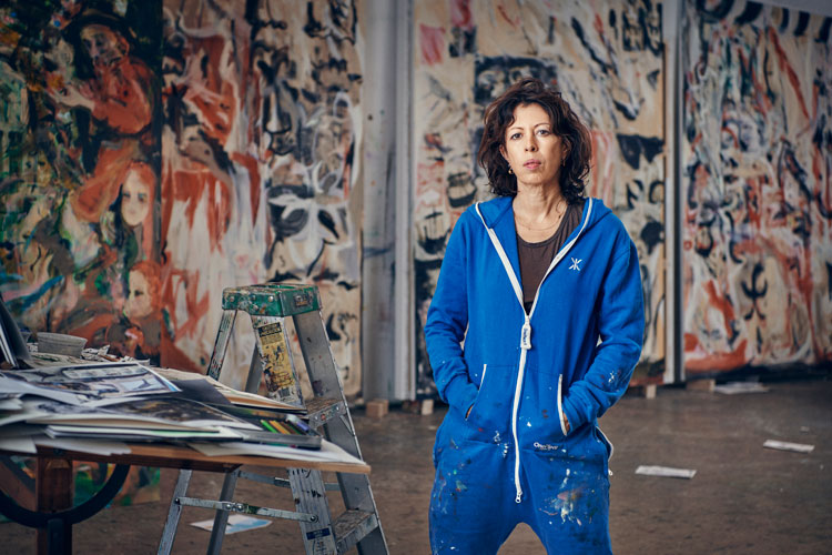 Cecily Brown in her studio. Photo: Tom Lindboe, 2019. Courtesy of Blenheim Art Foundation.