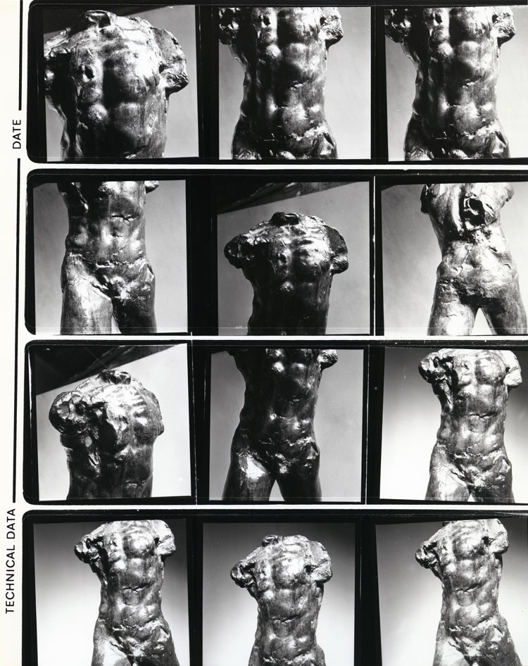 Contact sheet for details of Auguste Rodin's Walking Man (1877–78) photographed by Henry Moore, 1967, © The Henry Moore Foundation, UK.