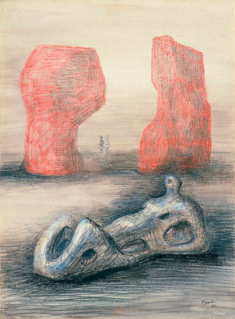 Henry Moore, Sculpture and Red Rocks, 1942, pencil, charcoal, wax crayon, wash, pen and ink on paper, The Museum of Modern Art, New York, © The Henry Moore Foundation, UK, digital image © The Museum of Modern Art/Licensed by SCALA/Art Resource, New York.