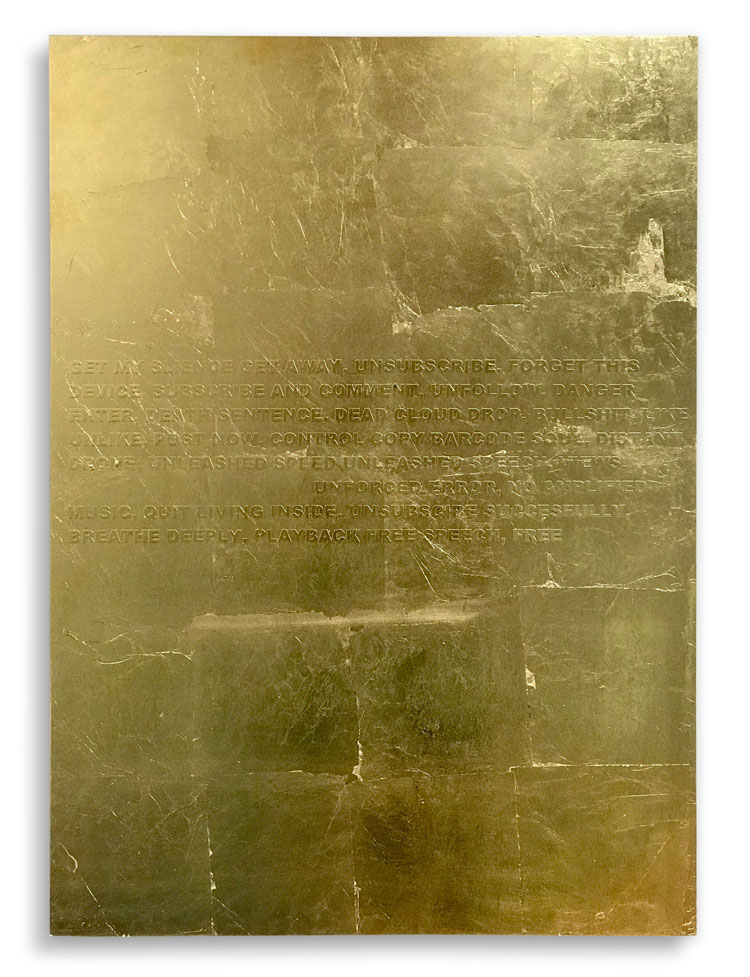 Stefan Brüggemann. Inside (Hyper-Poem Lockdown), 2020. Gold leaf and vinyl text on wood, 70 x 50 cm (27 1/2 x 19 5/8 in). © Stefan Brüggemann. Courtesy the artist and Hauser & Wirth.