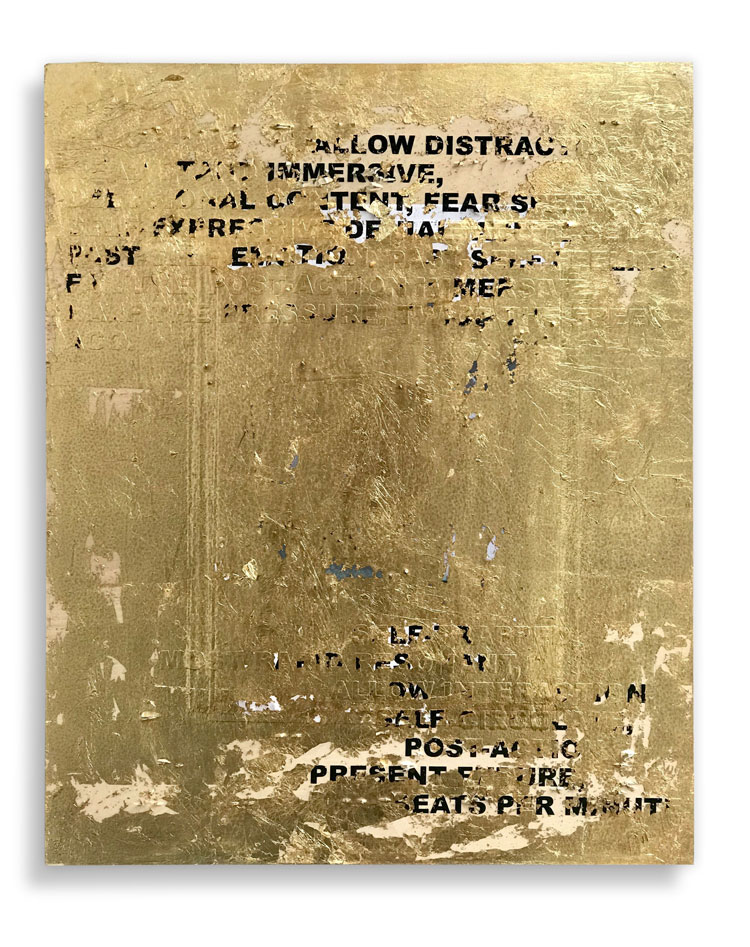 Stefan Brüggemann. Untitled Action (Lockdown), 2020. Gold leaf, paper and vinyl text on wood, 50 x 40 cm (19 5/8 x 15 3/4 in). © Stefan Brüggemann. Courtesy the artist and Hauser & Wirth.