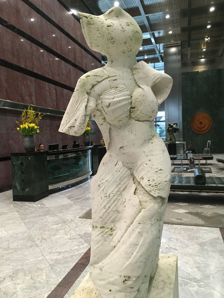 Helaine Blumenfeld, Venus, 1993. Travertine marble, 230 x 76 x 51 cm Installation view, One Canada Square. Photo: Veronica Simpson.