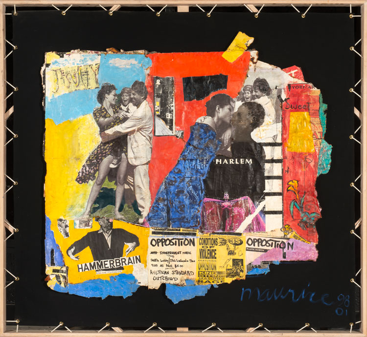 Maurice Burns. Harlem, 1998-2001. Collage, 56 7/8 x 62 1/2 x 2 1/2 in. Image courtesy the artist and Gerald Peters Contemporary.