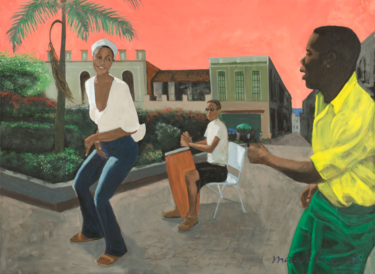 Maurice Burns. Havana, 2019-20. Oil on canvas, 56 x 76 x 1 1/2 in. Image courtesy the artist and Gerald Peters Contemporary.