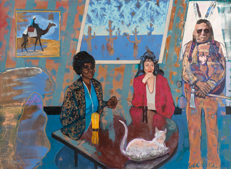 Maurice Burns. Various Forms of Association, 1989. Oil on canvas, 55 3/4 x 75 3/4 x 1 1/2 in. Image courtesy the artist and Gerald Peters Contemporary.