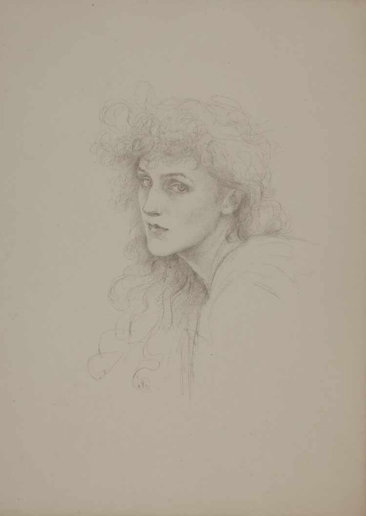 Violet Manners. Self Portrait, 1891. Pencil on paper, 37.7 x 27.7 cm. Russell-Cotes Art Gallery & Museum.