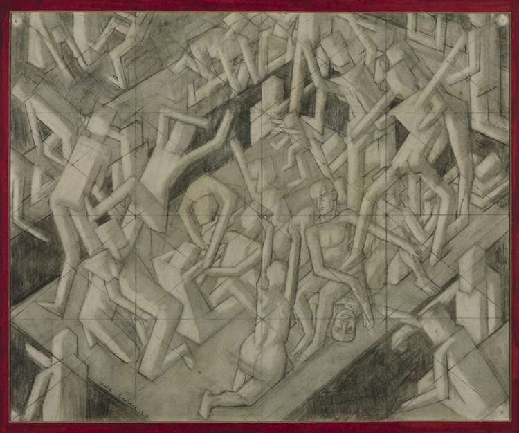 David Bomberg. Study for The Vision of Ezekiel, c1912. Chalk and graphite on paper, 56.5 × 68.6 cm. Tate, London. Presented by the executors of Mrs Helen Bentwich 1972. © Tate.