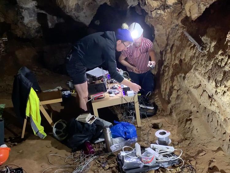 Installing Entirely Hollow Aside from the Dark, Creswell Crags Cave, Worksop, 2019. Photo: Martin Kennedy.
