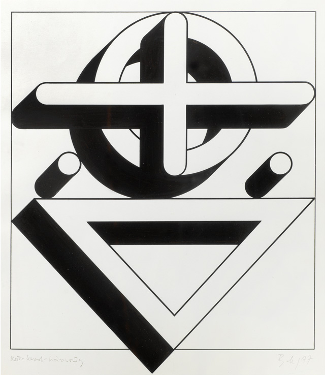 Imre Bak. Circle-Cross-Triangle, 1977. Ink and tempera on paper, 32 x 28 cm (12 5/8 x 11 in). Photo courtesy Mayor Gallery.