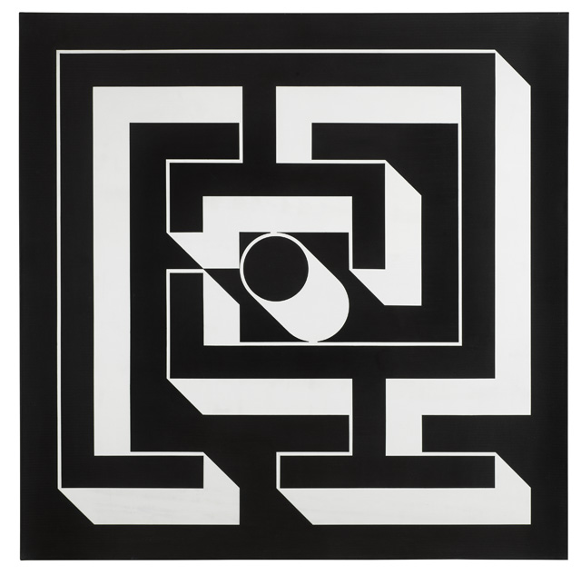Imre Bak. Labyrinth, 1979. Acrylic on canvas, 150 x 150 cm (59 x 59 in). Photo courtesy Mayor Gallery.