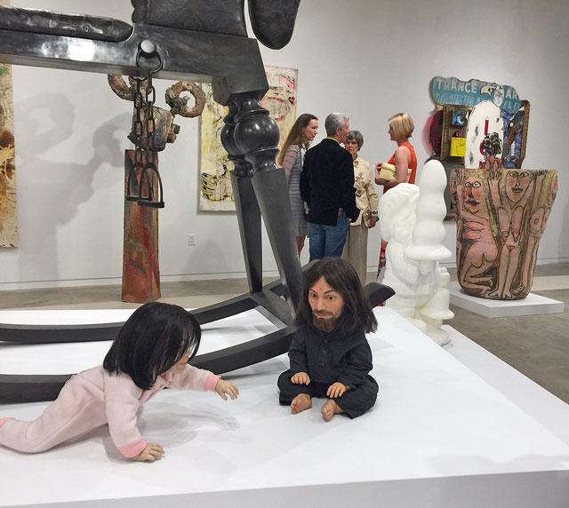 John Waters, Playdate, 2006 (foreground). Silicone sculpture of Michael Jackson and Charles Manson. Installation view, The Bunker Artspace, West Palm Beach, Florida. Photo: Jill Spalding.