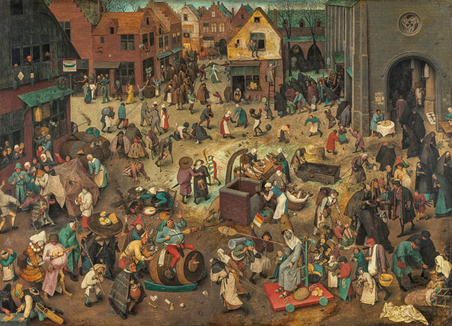 Pieter Bruegel the Elder, The Battle between Carnival and Lent, 1559. Oak panel, 118 × 164,5 cm. Kunsthistorisches Museum Vienna, Picture Gallery © KHM-Museumsverband.