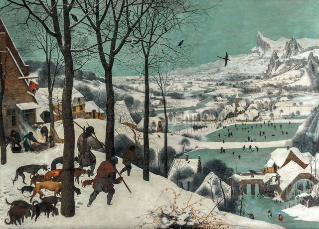Pieter Bruegel the Elder, Hunters in the Snow, 1565. Oak panel, 117 × 162 cm. Kunsthistorisches Museum Vienna, Picture Gallery © KHM-Museumsverband.