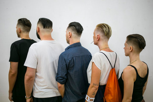 Vanessa Brazeau. Skin-fade disconnected slick-back. Image: Janez Klenovsek for the Fotopub exhibition at Simulaker Gallery, Novo Mesto, SI, 2018.