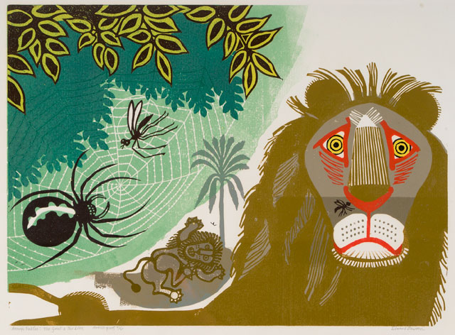 Edward Bawden. [Aesop's Fables] Gnat and Lion, 1970. Colour linocut on paper. Trustees of the Cecil Higgins Art Gallery (The Higgins Bedford), © Estate of Edward Bawden.