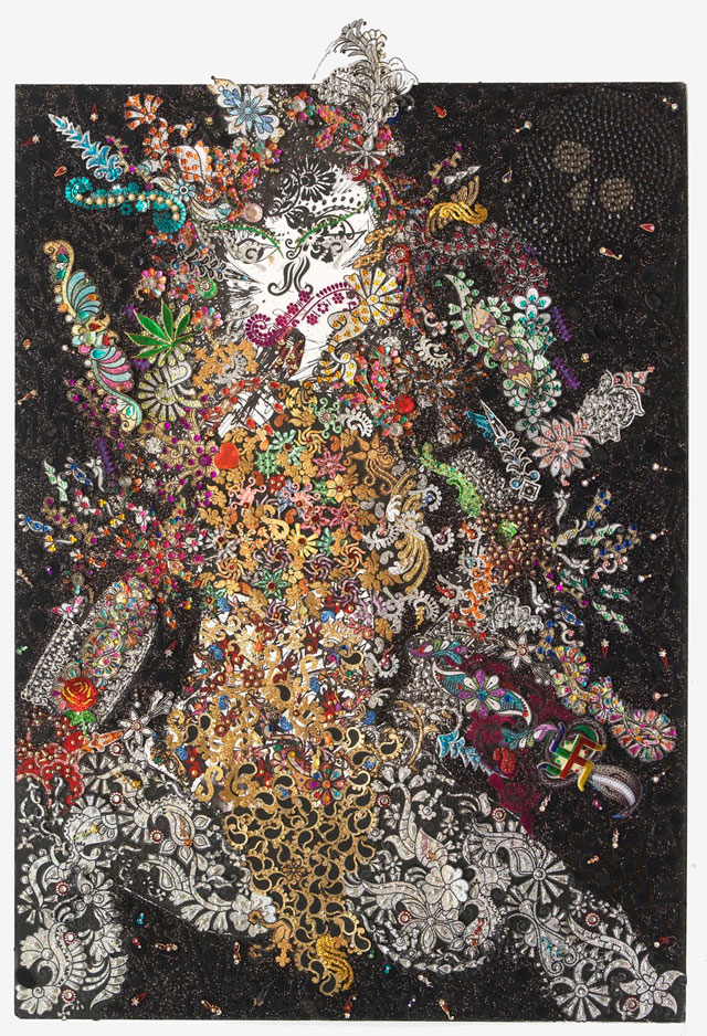 Chila Kumari Burman. Black Panther Raising the Roof, 2014. Inkjet on canvas, rhinestones, fake gems, body stickers, bindis, plastic, glitter, Swarovski, fake gems, 34 x 47 in.