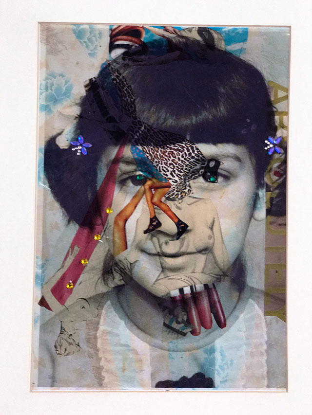 Chila Kumari Burman. Self-portrait in Pigtails, 2017. Photo-collage on Somerset Velvet, rhinestones and washi tape, 23 x 33 in.