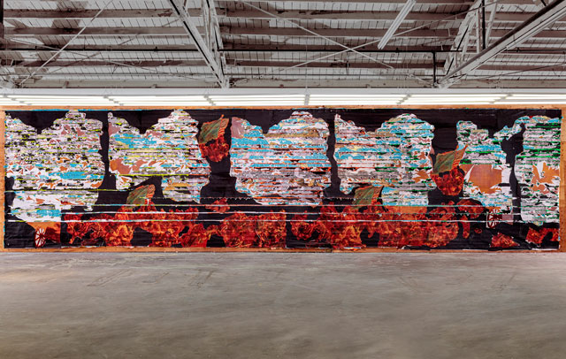 Mark Bradford, Pickett's Charge (The Thunderous Cannonade) (installed in the artist's studio), 2016-2017. Mixed media. Courtesy of the artist and Hauser & Wirth. Photograph: Joshua White.