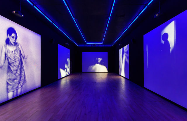 Installation view of Ugo Rondinone's exhibition Good Evening Beautiful Blue. Photograph: Zachary Balber. Courtesy of the artist and The Bass, Miami Beach.