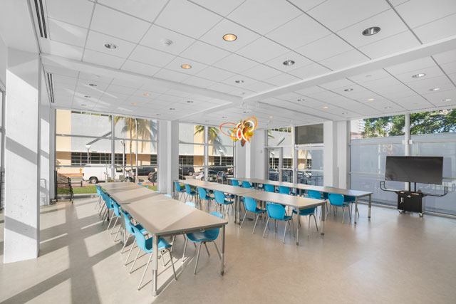 View of the new Waterview Classroom at The Bass Creativity Center. Photograph: Zachary Balber. Courtesy of The Bass, Miami Beach.
