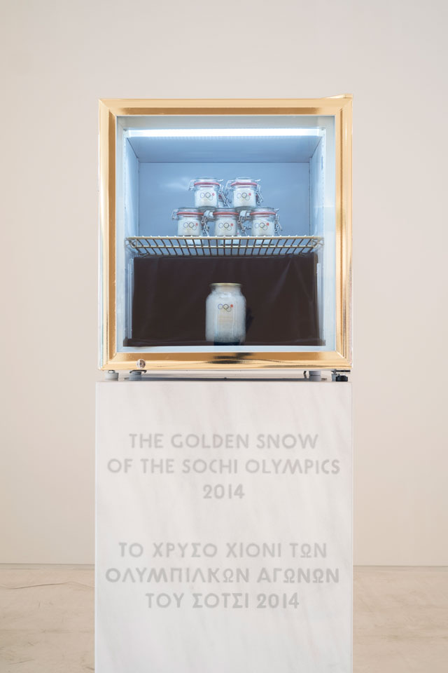 Pavel Brăila, The Golden Snow of the Sochi Olympics, 2014. Snow from the Sochi Olympics and various materials, EMST—National Museum of Contemporary Art, Athens, documenta 14. Photograph: Mathias Völzke.