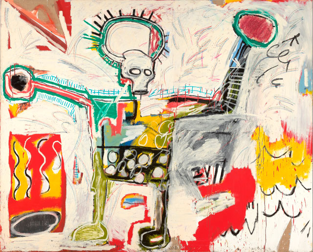 Jean-Michel Basquiat. Untitled, 1982. Acrylic and oil on linen, 193 x 239 cm. Courtesy Museum Boijmans Van Beuningen, Rotterdam. © The Estate of Jean-Michel Basquiat. Licensed by Artestar, New York. Photograph: Studio Tromp, Rotterdam .