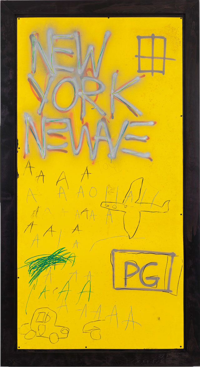 Jean-Michel Basquiat. Untitled, 1980. Courtesy Whitney Museum of American Art, New York. Enamel, spray paint, and oil stick on enameled metal, 243.8 x 122.1 cm. © The Estate of Jean-Michel Basquiat/ Artists Rights Society (ARS), New York/ ADAGP, Paris. Licensed by Artestar, New York.