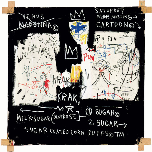 Jean-Michel Basquiat. A Panel of Experts, 1982. Acrylic, oil paintstick and paper collage on canvas with exposed wood supports and twine, 152.5 x 152 x 4.5 cm. Courtesy The Montreal Museum of Fine Arts. © The Estate of Jean-Michel Basquiat. Licensed by Artestar, New York. Photograph: MFA, Douglas M Parker.