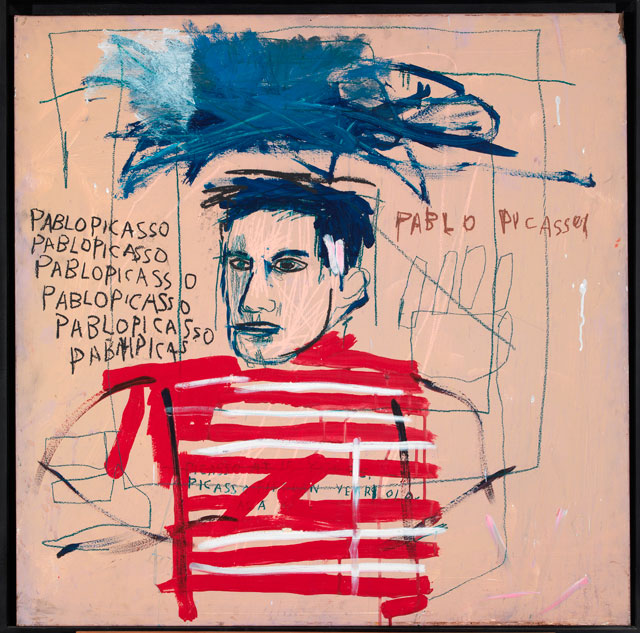 Jean-Michel Basquiat. Untitled (Pablo Picasso), 1984. Oil, acrylic and coloured oilsticks on metal, 90.5 x 90.5 cm. Private collection, Italy. © The Estate of Jean-Michel Basquiat. Licensed by Artestar, New York.