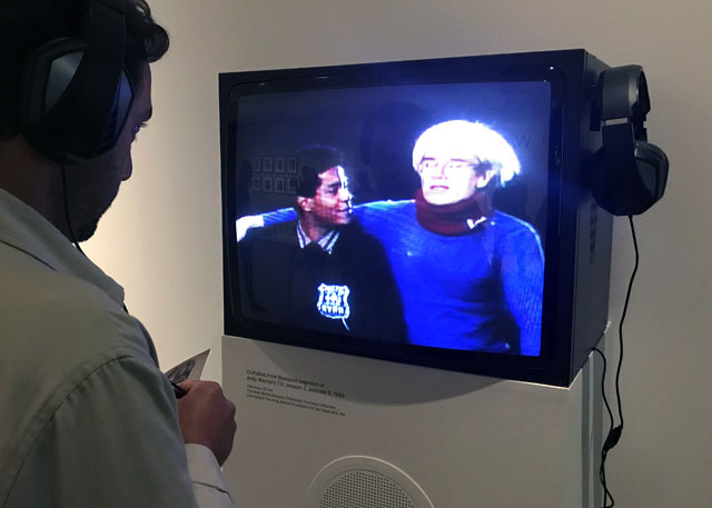Outtakes from Basquiat segment of Andy Warhol's TV, season 2, episode 9, 1983. Installation view, Basquiat: Boom for Real, Barbican Art Gallery, London, 2017. Photograph: Martin Kennedy.