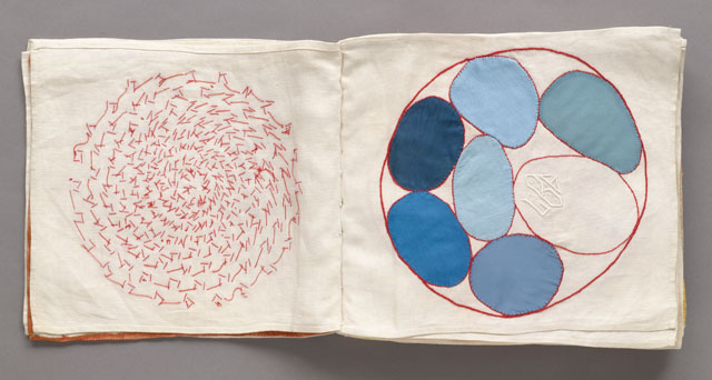 Louise Bourgeois. No. 4 of 34 from the fabric illustrated book Ode à l'Oubli. 2002. Page approx: 10 3/4 × 12 1/16 in (27.3 × 30.7 cm). The Museum of Modern Art, New York. Gift of the artist. © 2017 The Easton Foundation/Licensed by VAGA, NY.