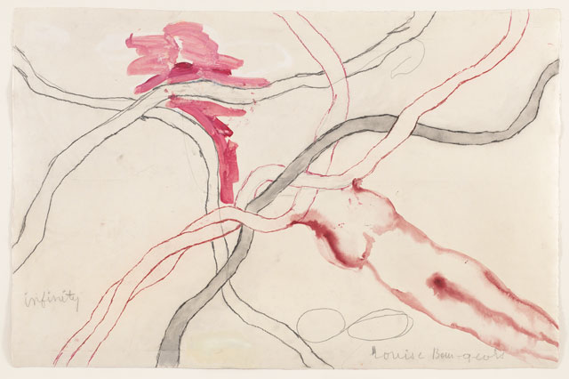 Louise Bourgeois. No. 5 of 14 from the installation set À l'Infini. 2008. Soft ground etching, with selective wiping, watercolor, gouache, pencil, coloured pencil, and watercolour wash additions. Sheet: 40 × 60 in (101.6 × 152.4 cm). The Museum of Modern Art, New York. Purchased with funds provided by Agnes Gund, Marie-Josée and Henry R. Kravis, Marlene Hess and James D. Zirin, Maja Oeri and Hans Bodenmann, and Katherine Farley and Jerry Speyer, and Richard S. Zeisler Bequest (by exchange). © 2017 The Easton Foundation/Licensed by VAGA, NY.