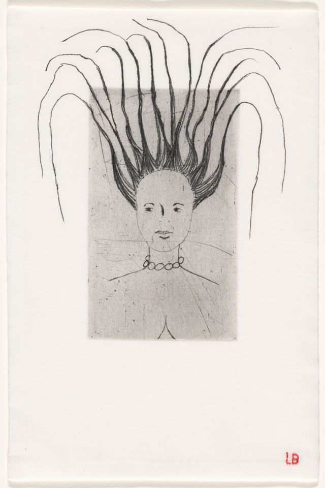 Louise Bourgeois. Femme, 2006. Drypoint, with hand additions, on fabric. Sheet: 10 1/4 × 6 1/4 in (26 × 15.9 cm). The Museum of Modern Art, New York. Gift of The Easton Foundation. © 2017 The Easton Foundation/Licensed by VAGA, NY.