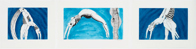 Louise Bourgeois. Triptych for the Red Room, 1994. Aquatint, drypoint, and engraving. Sheet (a): 27 13/16 x 32 5/16 in (70.6 x 82.1 cm); sheet (b): 27 13/16 x 42 1/16 in (70.7 x 106.8 cm); sheet (c): 27 7/8 x 37 5/8 in (70.8 x 95.5 cm). The Museum of Modern Art, New York. Gift of the artist. © 2017 The Easton Foundation/Licensed by VAGA, NY.