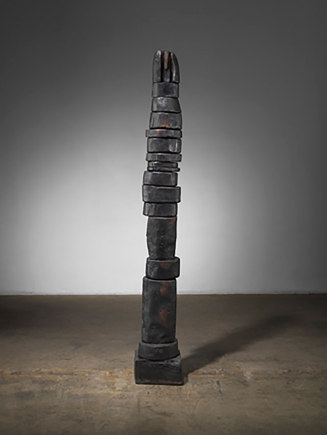 Louise Bourgeois. Untitled, 1953. Bronze. 59 1/4 × 8 1/2 × 8 1/2 in (150.5 × 21.6 × 21.6 cm). Collection The Easton Foundation. © 2017 The Easton Foundation/Licensed by VAGA, NY.