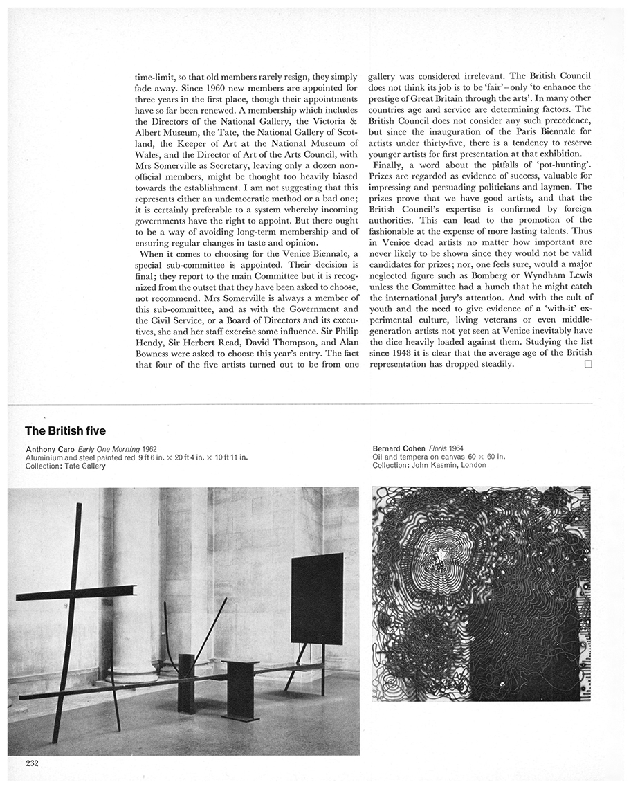Venice Biennale: the British five by David Thompson, Studio International, Vol 171, No 878, June 1966, page 232. © Studio International.