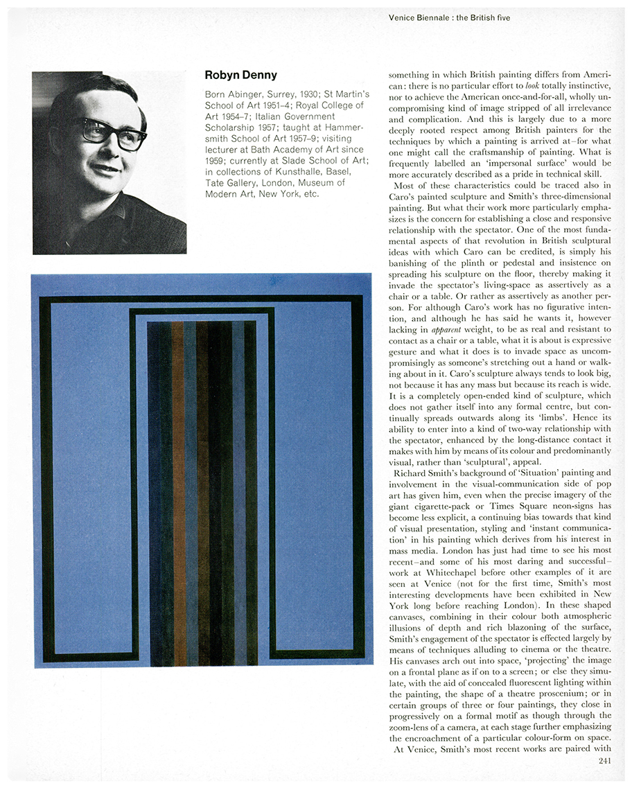 Venice Biennale: the British five by David Thompson, Studio International, Vol 171, No 878, June 1966, page 241. © Studio International.