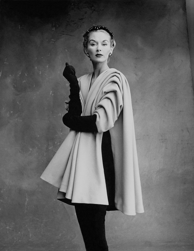 Lisa Fonssagrives-Penn wearing coat by Cristóbal Balenciaga, Paris, 1950. Photograph by Irving Penn © Condé Nast, Irving Penn Foundation.