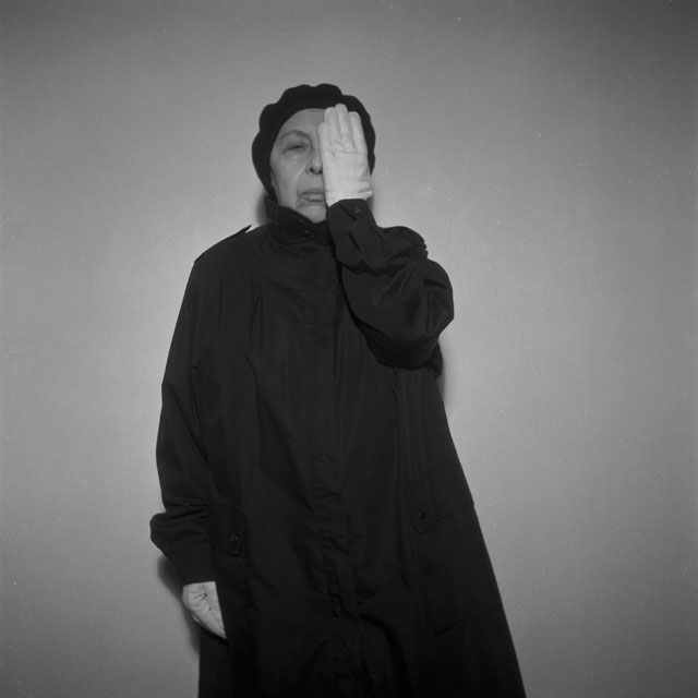 Geta Brătescu. Alteritate (Alterity), 2002/11. Black and white photographs, nine parts. Courtesy Barbara Weiss, Berlin.