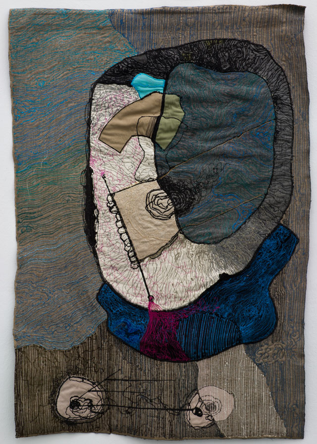 Geta Brătescu. Medeea –10 ipostaze (Medea's 10 Hypostases), 1980. Coloured drawing with a sewing machine on textile. Courtesy collection of Adam and Mariana Clayton, London. Photograph: Stefan Sava.