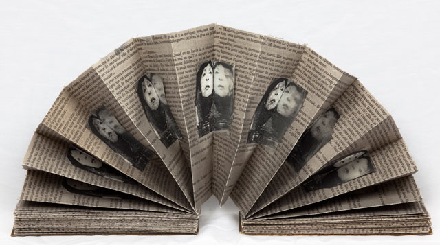 Geta Brătescu. L'aventure. Roman Inedit (The Adventure), 1991. Object, mixed media (printed paper, ink). Collection of the National Museum of Contemporary Art, Bucharest. Photograph: Stefan Sava.