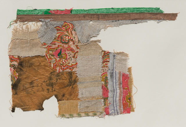 Geta Brătescu. Vestigii (Vestiges), 1978. Textile collage on paper, six pieces. Courtesy Luisa Malzoni Strina Collection.