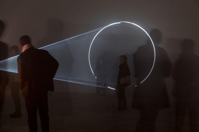 Anthony McCall. Line Describing a Cone, 1973. Courtesy Julia Stoschek Foundation e. V. and Sprüth Magers. Installation view at KW Institute for Contemporary Art, 2017. Photograph: Frank Sperling.