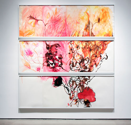 Maria Magdalena Campos-Pons. The One That Carries Fire, 2011. Drawing and mixed media on paper, three panels, 34 × 92 in each.
