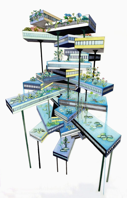 Naomi Reis. Vertical Garden (Falling Water), 2008. Acrylic and ink mixed media collage on mylar, 53 × 35 in. Collection of Katarina Maxianova and Aaron Hagedorn.