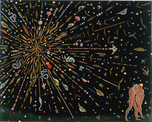 Fred Tomaselli. Study for Expulsion, 2000. Leaves, pills, acrylic, photocollage, and resin on wood panel, 24 × 30 in. Private Collection.