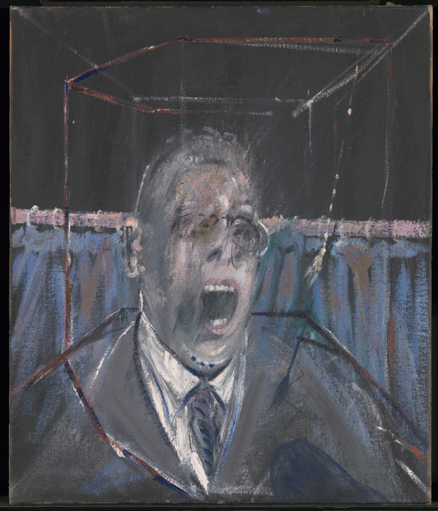Francis Bacon. Study for a Portrait, 1952. Oil paint and sand on canvas, 66.1 x 56.1 x 1.8 cm. © Estate of Francis Bacon. All Rights Reserved, DACS 2016.