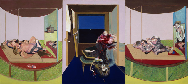 Francis Bacon. Triptych, 1967. Oil on canvas, each: 198 x 147.5 cm. Hirshhorn Museum and Sculpture Garden. Smithsonian Institution Gift of the Joseph H. Hirshhorn Foundation, 1972. © The Estate of Francis Bacon. All Rights Reserved. DACS 2016. Courtesy of Hirshhorn Museum and Sculpture Garden, Smithsonian Institution, Washington, D.C. Photograph: Lee Stalsworth