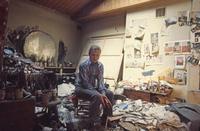 Francis Bacon in his studio in London in 1974. Photograph: Michael Holtz/Photo12.